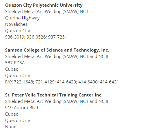 Welding college subjects list